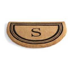"""Grandin Road - Monogrammed Coco Border Half-Round Door Mat - A - 100% coir construction. Stenciled black triple-line border and monogram. Single-letter monogram available in letters A to Z. Available without a monogram. Measures 1-1/2'"""" thick. Add a monogram to our Half-round Coco Mat for a customized and elegant greeting at your door. Each thick, durable, 100% coir mat is crafted by artisan weavers and finished with black stenciling.  .  . .  . . Please note: Personalized items are nonreturnable."""