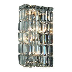 """PWG Lighting / Lighting By Pecaso - Chantal 4-Light 8"""" Crystal Wall Sconce 1728W8C-SS - The unique design of the Chantal Collection inspires any room setting. Dazzling spectacles of light sparkles throughout the fixture creating a modern, yet timeless beauty and elegance."""
