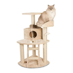"MAJESTIC PET PRODUCTS - 48"" Casita Cat Tree - Your cat deserves the utmost in luxury, and she'll find it in this faux fur cat tree, whose rope-wrapped posts, rope toy and dangly mouse provide hours of entertainment. Your kitty can climb a ladder to two perches and a second-story enclosed condo. Easy for humans to assemble."