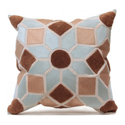 Tuniz Pillow - Blue/Taupe - Delicate shades of sky, taupe, and terra cotta fill the tiles of a Moroccan-inspired mosaic design that centers on a star.  Ivory borders between the fields of color divide the natural linen into segments like those of a quilt or a stained glass art piece, making the design graphic as well as romantic.  Designed in chic colors with a versatile and cultured appearance, the Tuniz accent pillow has an insert stuffed with natural feathers to complete its quality.