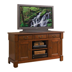 Home Styles - Home Styles Aspen TV Credenza Stand - Home Styles - TV Stands - 552010 - Create ambiance with a perfect balance of warmth and style with the Aspen Collection.  Poplar solids and cherry veneers are warmed with a multi-step Rustic Cherry finish while a bold top molding and Marlborough styled feet draw the eye deeper in.  The Aspen TV Credenza provides generous storage in the center cable accessible storage compartment with an adjustable shelf; two storage cabinets each with an adjustable shelf; and two storage drawers.