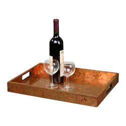 Uttermost Ambrosia Copper Tray - Oxidized copper sheeting. The oxidization of each piece will vary. Wooden tray covered with oxidized copper sheeting. The oxidization of each piece will vary.