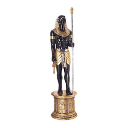 EttansPalace - 8ft Classic Egyptian Sculpture Grand Ruler Collection Life-size Horus Statue - At nearly eight feet tall, Horus is ready to protect your Egyptian palace. We guarantee heads will turn toward this enormous, more than seven-foot-tall indoor masterpiece whose wow factor rivals every Ther grand-scale Egyptian sculpture We've  produced! Paying homage to the falcon god of divine order, our statue is a more-than-powerful statement piece, complete with scepter and ankh, set upon a column sculpture plinth adorned with hieroglyphs. Muscular Horus is cast in quality designer resin and hand-painted in faux ebony, gold and silver. The Pharaoh s chief advisor stands upon a column ringed with traditional hand-scribed hieroglyphs and crowned with a traditional lotus capitol. This large-scale, display-quality indoor sculpture transforms any home bar, entertainment area or recreation room into something truly magnificent! Arrives in three pieces.
