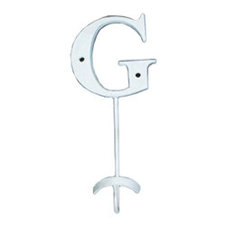 Renovators Supply - Hooks Wrought Iron Hook White Decorative Letter G - Letter Hooks: Crafted of wrought iron, these hooks add a personal touch for each member of the family, to entryways, bedrooms or baths. Each hook includes hardware for mounting.