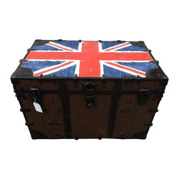 Used Antique Metal Steamer Trunk with Union Jack Flag - Metal steamer trunk from the turn of the century. Restored with Union Jack hand painted on top in a vintage manner. 2 inner trays. There are some signs of wear in keeping with its age, lock doesn't work, but latches do, no key. This piece would make a great coffee table!