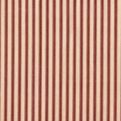 "24"" Tailored Tiers, Unlined, Ticking Stripe Crimson Red"