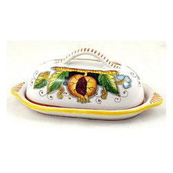 Artistica - Hand Made in Italy - Frutta Fondo Nero: Butter Dish - Frutta Fondo Nero: Butter dish [#1294-FFN]