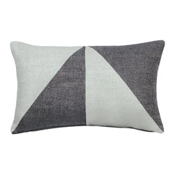"""LaCozi - """"Bello"""" Grey Jacquard Oblong Pillow - Add a graphic pop of color to your sofa or chair with this contemporary accent pillow.  Double-stitched seams and reinforced stress points provide durable construction that will last you for years, while the easy-to-remove feather insert makes cleaning a snap."""