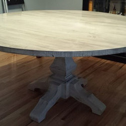 "60"" Whitewashed Round Pedestal Table - 60"" Round Pedestal Dining table in Antique White Glaze."