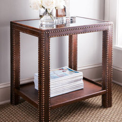 Horchow - Nailhead Side Table - Handcrafted side table also makes a perfect loft-size nightstand. Dovetailed mango wood frame wrapped in leather with pronounced seams that create a rustic look. Hand-tacked with brass nailheads, so color and placement of trim may vary. Finished wit...