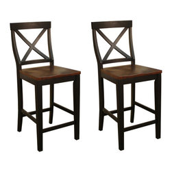 American Heritage - American Heritage Camden X-Back Counter Height Dining Chair (Set of 2) - The trendy American Heritage Billiards Camden X Back Counter Height Dining Chair - 700204BLK/SD are crafted of solid wood and have a comfortable wood seat. They look great in the stunning two toned black and suede finish.
