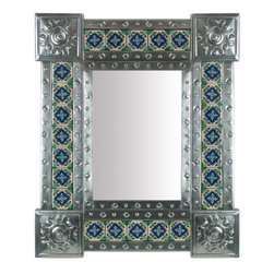 Mexican Artisans - Natural Tin & Tile Mirror - This unique Mexican tin & tile mirror is a work of art guaranteed to make a design statement  on any wall in your home!  Our Mexican mirror can be hung horizontally or vertically to compliment any room or style of decor.