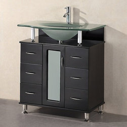 None - Hungtinton 30-inch Modern Bathroom Vanity - Update your bathroom with this sleek, modern bathroom vanity. Featuring a tempered glass countertop with contoured sink, a solid-wood cabinet, metal legs, and nickel hardware, this vanity has six drawers and two doors for added storage.