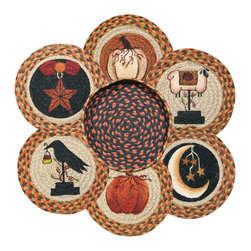 Earth Rugs - Autumn Round Trivets in a Basket (Set of 7) - Our Jute products are crafted with sustainably harvested jute, a fast-growing, renewable natural fiber. The jute is then hand braided into unique patterns.