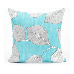 Blooming Home Decor - Aqua Blue & White Leaf Throw Pillow Cover - - 100% cotton