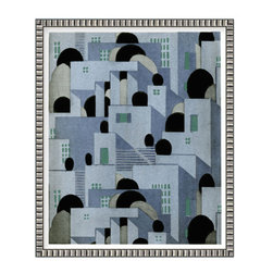 Blue Houses Papiers Peints, Small, Framed - This print is of an art deco painted wall paper featuring an architectural landscape that was originally designed by Henri Stephany circa 1925 Paris.