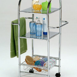 None - Chrome Finish Metal Bathroom Towel Storage Shelf - This rack features three tier of bathroom accessories storage. Crafted of metal with chrome finish,this caster wheel rack will make an alluring addition to any home decor. Comes with two towel bars for extra storage.