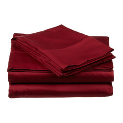 400 Thread Count Egyptian Cotton Full Burgundy Solid Sheet Set - 400 Thread Count Egyptian Cotton Full Burgundy Solid Sheet Set
