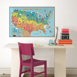 Wall Pops - Wall Pops Kids USA Dry Erase Map Wall Decal - 36W x 24H in. Multicolor - WPE0623 - Shop for Wall Decorations from Hayneedle.com! About WallPopsModern wall decor doesn t come easier or more stylish than it does from WallPops. With their designer products featuring bright colors fun patterns and unique accents WallPops is quickly becoming the world s leader in fashionable peel-and-stick wall decals. Their high quality and versatile products are always repositionable and removable making them safe for walls in your living room the kitchen the kid s room or a college dorm. WallPops products come with a wealth of sophisticated decor; from contemporary to classic and funky to functional there s certainly a WallPops wall art product to suit any palate. WallPops is manufactured by Brewster Home Fashions based in Randolph Mass. Brewster is a fifth-generation family-owned and operated company founded in 1954.