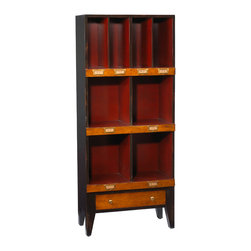 French Heritage - French Heritage Storage Unit, 4 Cubbyholes - Showcase books and collectables in a handsome order. Our clean, scholarly and attractive units bring a well tailored order to your den, home office or study.- One Drawer.- Four Large Cubbyholes.- Four Small Cubbyholes.- Cherry/Maple. - Weight: 80lbs