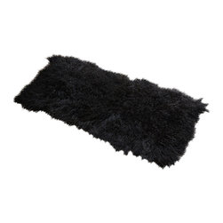 Curly Fur Imports - 2' x 4' Tibetan / Mongolian Lamb Fur Rug (Jet Black) - Our luxurious  2' x 4'  modern decorative area rug is offered in our gorgeous real 100% Tibetan / Mongolian lamb fur. It adds a touch of softness, beauty, luxury and warmth to any room. All it takes is one accent to invigorate a room with gentle luxury and rich texture. Tibetan lamb fur is a luxurious fur that is incredibly soft, silky and curly. Plus it has natural properties that will keep you cool in the summer and warm in the winter. Fur length is over 4 inches.
