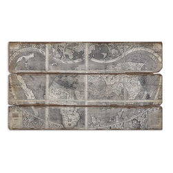 Uttermost - Map Of The City Modern Art - If you are a crazy cartography aficionado or manic for maps, you'll love this unusual frameless oil reproduction with a sand-textured finish. Mounted on a wooden backboard, this art piece commands attention and summons viewers to inspect the detail.