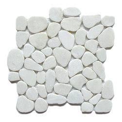 Jade Stone Opal Tile, 10 pieces - This Jade Stone Mosaic in white with scattered sparkle in its surface is a highly exotic polished jade set in a mesh interlocking sheet. Smooth yet natural - it's no wonder this collection is the first choice of people eager to explore the possibilities of new design surfaces. This item is sold by box with 10 pieces in each box. Individual items are available on our seller's account. Please note: Pebbles are a natural product so variations in color and texture are to be expected. All tiles should be inspected before installation, as no adjustment will be made after installation.