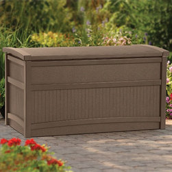 Suncast - Suncast DB5000B Premium 50 gal. Deck Box - DB5000B - Shop for Sheds and Storage from Hayneedle.com! The Premium 50-gal. Deck Box provides an easy solution for storing outdoor furniture accessories and it doubles as an attractive bench for garden-side seating. This deck box is made from durable resin in a rich mocha brown color that stands out and looks great in all kinds of outdoor settings. It has a 50-gallon capacity for holding a variety of items and its stay-dry design ensures that all contents are protected from the elements. No tools are required - assembly is easy. Dimensions: 41W x 21D x 22H inches.About Suncast Corporation:Suncast is known for its high-quality low-maintenance storage products and accessories. Organize gardens back yards garages basements and more. Suncast's full line of products includes everything from storage lockers to sheds and bins. Suncast pieces are designed for low-maintenance worry-free performance that's versatile enough to suit your every need.
