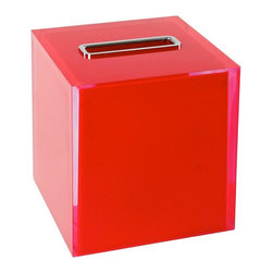 Gedy - Thermoplastic Resin Square Tissue Box Cover in Red Finish - Need a kleenex box cover? This one is a free standing contemporary tissue box cover that will fit perfectly into your contemporary personal bath. Imported from Italy by Gedy, this high-end kleenex box holder is built with high-quality thermoplastic resin and coated in red. High-End red kleenex box cover. Contemporary free standing kleenex box holder. For contemporary settings. From the Gedy Rainbow collection. Imported from Italy.