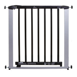 Dreambaby - Dreambaby Windsor Gate Silver w/ Dark Wood - No tools required! This pressure mounted gate is an easy install and easy on the eyes. With a double locking system for added security, and the ability to expand wider with extensions, your children and pets will be reigned in beautifully.