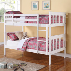 Twin over Twin Bunk Bed with Slat Design in White -