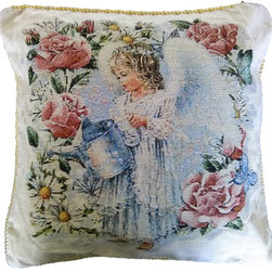 Tache Home Fashion - Tache Angel in the Garden 18 x 18 Inch Throw Cushion Cover, 18 X 18 Inches, 1 Pi - A Great Valentines Gift Idea and accent. Enjoy Cupid's presence year round with this cushion cover, as a cute angel waters her flowering garden.