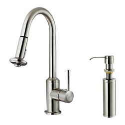 Vigo - VIGO VG02012STK2 Spray Faucet w/Dispenser - 360-degree swivel spout for easy access to all areas