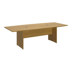 "Bush - Bush 300 Series 8' Boat Shaped Conference Table in Modern Cherry - Bush - Conference Tables - 99TB9642MCK - Bring everyone together in an open or private work environment. When you need space to spare specify the BBF 96""L x 4""W Boat Top Conference Table. Large shaped top surface works in a variety of settings from conventional to alternative office environments. Finished underside prevents snagged clothing. Wood Leg Base with stable cross-member support system includes a leveling guide for uneven floors. Wire management port keeps unsightly cords and cables contained. Continuous edge banding protects against nicks and dings from collisions. Durable Dia mond Coated finish resists stains and scratches. Get executive sophistication with practical functionality. Complete with all connectors and mounting plates for installation. Includes BBF limited lifetime warranty."