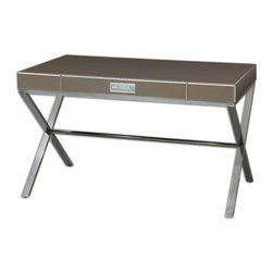 Uttermost - Lexia Modern Desk - Bronze Mirror-faceted Desk With Generous, Wide Drawer Accented By A Chrome Bar Pull Over A Beveled, White Mirror Plate Fixed Atop A Stainless Steel Stretcher Base. Bulbs Included: No