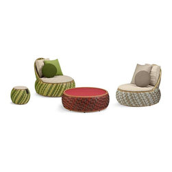 Dala Lounge Chairs - These chairs, ottomans and tables are colorful and festive looking. If you prefer more of an ethnic vibe to your outdoor furniture, these are just perfect for around the house.