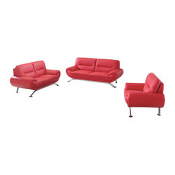 American Eagle Furniture - 7580 Red Bonded Leather Three Piece Sofa Set - The 7580 sofa set is a great addition for any living room looking to add a touch of today's modern design. This sofa set comes upholstered in a stunning red bonded leather on the front where your body touches. Carefully chosen match material is used on the back and sides where contact is minimal. High density foam is placed within each piece for added comfort. The sofa set features brushed stainless steel legs with a angled design that adds to the overall look. The sofa set shown includes a sofa, loveseat, and chair only. The coffee table shown is NOT included.