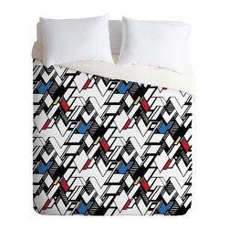 DENY Designs - Karen Harris Taliesin Multi Twin Duvet Cover - Wake up your bedroom with this action-packed, graphic style duvet cover print. Like a comic book with bold contrasts, sharp lines and 3-D shading, the geometric pattern is full of zigzag swagger, balanced by selective coloring to create a feeling of openness. Match it with a few simple, modern furniture pieces and you'll be set.
