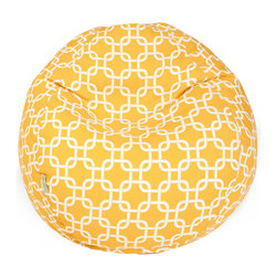 Majestic Home - Outdoor Yellow Links Small Bean Bag - Beanbags are the ultimate kid-friendly chairs: You can toss them anywhere, let them get kicked around and squished up, and you don't have to worry if this one gets left outside overnight. This small, snazzy beanbag is just the right size for your kid to plop in front of a movie or out by the pool, and its fun patterned slipcover is safe for outdoors and removable for easy cleaning.