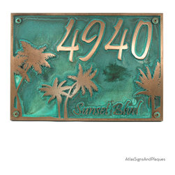 """Palm Tree Custom Plaque 12"""" x 9"""" in Bronze Verdi - Although palm tree fossils have been dated as far back as 80 million years, and fig palms were cultivated over 5,000 years ago, the palm tree image, for most of us, signifies sunshine, easy living, and drinks with little umbrellas shading tropical fruit garnishes."""