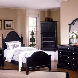Vaughan Bassett - 5 Pc Youth Panel Bedroom Set in Black Finish - Choose Bed Size: TwinIncludes double slotted panel bed, commode, vanity chest, double dresser and vertical mirror. Black finish. Assembly required. Commode:. 2 Drawers. 1 Open shelf. 28 in. W x 16 in. D x 29 in. H. Vanity chest:. 4 Drawers. 2 Doors. 1 Adjustable shelf. 32 in. W x 23 in. D x 60 in. H. TV opening: 28 in. W x 20 in. H. Double dresser:. 6 Drawers. 52 in. W x 18 in. D x 36 in. H. Vertical mirror: 35 in. L x 2 in. W x 40 in. H. Panel bed:. Twin Size: (double slotted). Includes panel headboard, panel footboard and wood rails with 3 1-inch slats. Headboard and footboard have double slots for height adjustments. Optional trundle unit with face panel. Panel headboard: 41 in. L x 2 in. W x 58 in. H. Panel footboard: 43 in. L x 2.5 in. W x 29 in. H. Full Size: (double slotted). Includes panel headboard, panel footboard and wood rails with 3 1-inch slats. Headboard and footboard have double slots for height adjustments. Optional trundle unit with face panel. Panel headboard: 56.75 in. L x 2 in. W x 62 in. H. Panel footboard: 58.5 in. L x 2.5 in. W x 29 in. H. Wood rails: 76 L x 6 in. W x 1 in. H