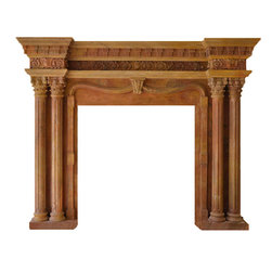 Marble Fireplaces Mantels - A beautiful four column dark beige marble fireplace mantel. Two fluted Roman Corinthian columns flank each side of the fireplace box. Fine carvings through out the mantel. Crowned with a heavy mantel shelf with dental molding.