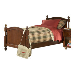 Homelegance - Homelegance Aris Kids' Poster Bed in Brown Cherry - Twin - Classic in design and bold in style, the youth version of our popular Aris collection adds warmth and character to your child's bedroom. Bun feet serve to support the simple yet elegantly designed case pieces, while the warm brown cherry finish on select hardwoods and veneers completes the overall look. Student desk with hutch and coordinating chair are also available.