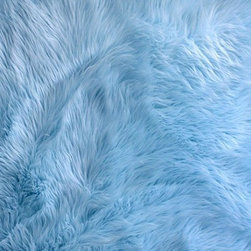 FurAccents - Fur Accents Classic Rectangle Area Rug Premium Shag Faux Fur, Sky Blue, 2'x4' - Plush sheepskin design. Made from 100% animal free and eco friendly fibers. Perfect for any room in the house. Skilfully made and tastefully lined with real parchment ultra suede. Luxury, quality and unique style for the most discriminating designer/decorator.