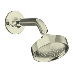 """KOHLER - KOHLER K-14418-SN Purist Single-Function Showerhead, Arm and Flange in Polished - KOHLER K-14418-SN Purist Single-Function Showerhead, Arm and Flange in Polished NickelCapturing the inherent style of minimalist design elements, the Purist showerhead offers sleek contemporary styling that complements the Purist Suite. It features 72 individual spray nozzles that deliver full coverage. The MasterClean(TM) sprayface resists mineral buildup and is easy to clean.KOHLER K-14418-SN Purist Single-Function Showerhead, Arm and Flange in Polished Nickel, Features:• 5-1/2"""" diameter sprayface and 72 nozzles deliver full water coverage and warmth"""