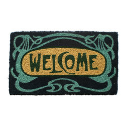Entryways - Art Deco Welcome Hand Woven Coconut Fiber Doormat - Designed by an artist, this distinctive mat is a work of art that will add a welcoming touch to any home. It is from Entryways' handmade collection and meets the industry's highest standards. This decorative mat is handsomely hand woven and hand stenciled.