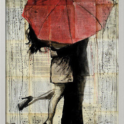 Artcom - The Red Umbrella by Loui Jover - The Red Umbrella by Loui Jover is a Framed Art Print set with a Ronda II Silver wood frame.
