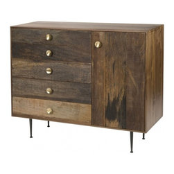 Maxwell Dresser - Reclaimed walnut woods, round brass pulls, and tappered steel legs come together in harmony to make our Maxwell Dresser. - See more at: http://www.bobbyberkhome.com/product/whats-new-/10328-71383/bobby-berk-home-maxwell-dresser.html#sthash.fS2VheXI.dpuf