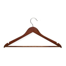 Box Of 24 Wood With Non-Slip Bar- Cherry Finish - Honey-Can-Do HNG-01335 24-Pack Suit Hanger, Cherry. Beautiful, wooden clothes hanger has a contoured design perfect for keeping shirts, dresses, and jackets wrinkle-free. Features a 360 degree swivel rod hook to hang items easily on any closet rod, towel bar, or standard size door. Non-slip vinyl coated pant bar holds fabrics perfectly in place. A gorgeous upgrade for any closet space.