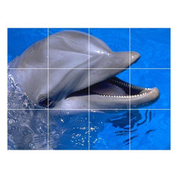 Picture-Tiles, LLC - Dolphin Picture Kitchen Bathroom Ceramic Tile Mural  12.75 x 17 - * Dolphin Picture Kitchen Bathroom Ceramic Tile Mural 1478
